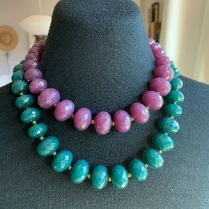 Avon 2 Necklaces Purple Green Faceted Chunky Bead Antiqued Gold